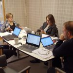 The delegation interviewing Tove Carlen from the Swedish Journalists' Association. Photo: Renata Rat/ECPMF