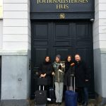 The delegation in front of the building of the Danish Union of Journalists DJ in Copenhagen. Photo: ECPMF