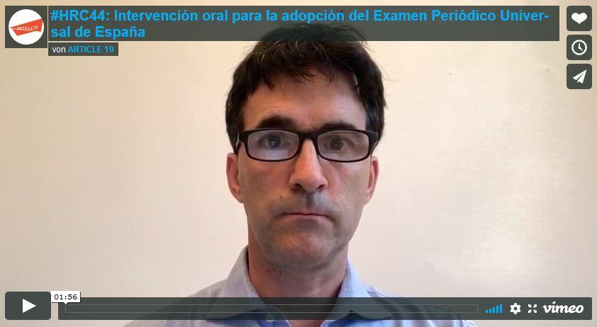 HRC44: Intervención oral para la adopción del Examen Periódico Universal de España