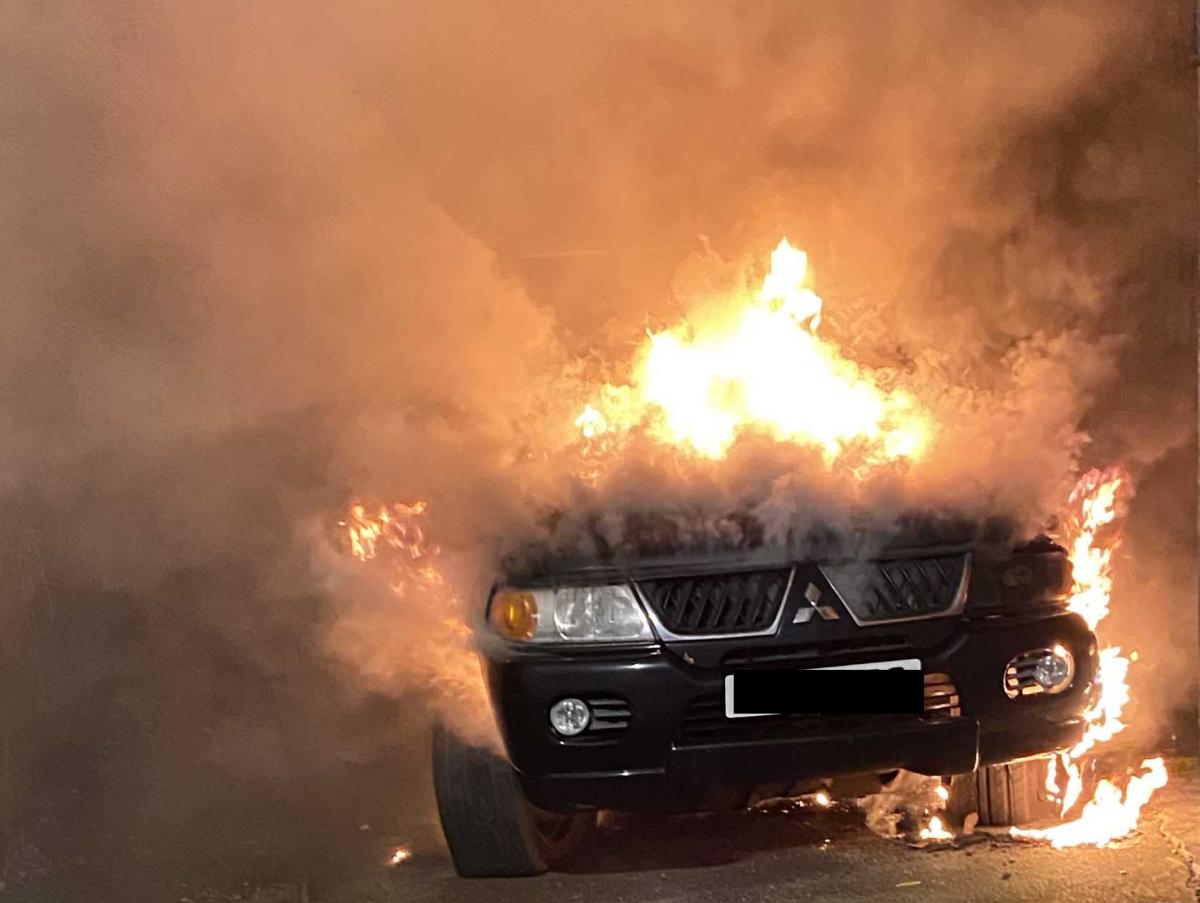 James Cruickshank car on fire (photo: James Cruickshank)