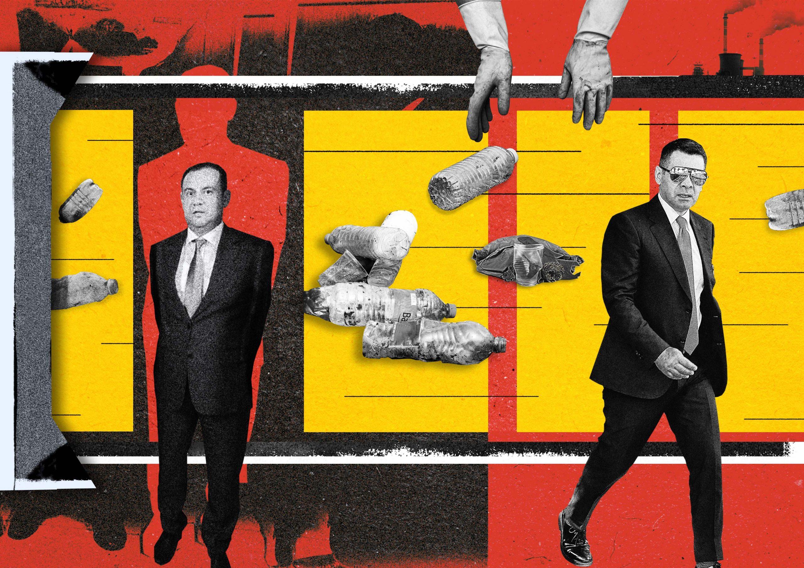 Graphic illustration by Jurgena Tahiri / BIRN. In the photo: Mirel Mërtiri and Minister Arben Ahmetaj