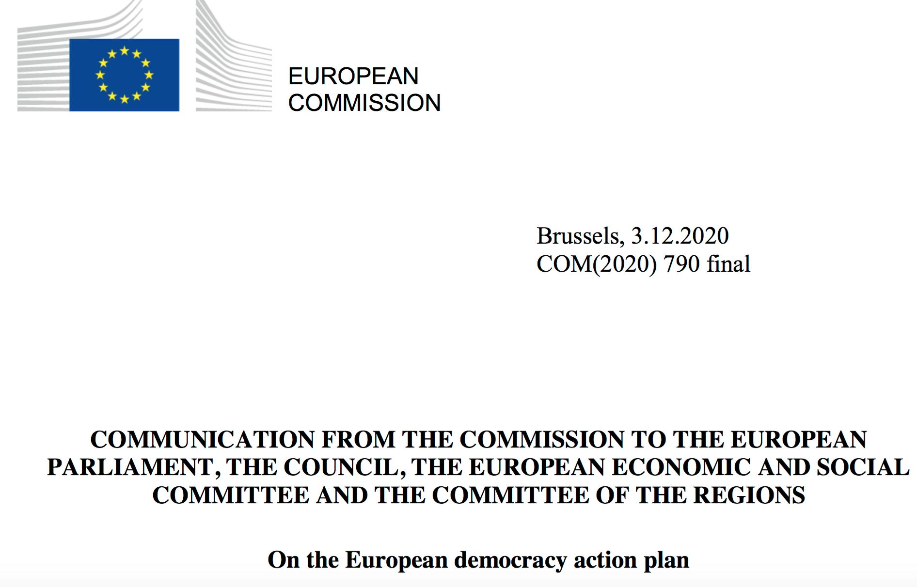 European Democracy Action Plan, 2020